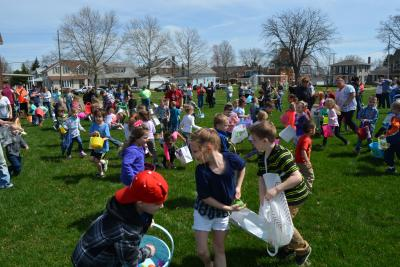 2019 Easter Egg Hunt on the green space.