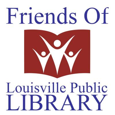 The Friends of the Louisville Public Library logo, with an open book and three silhouetted people.