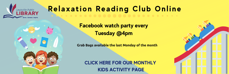Relaxation Reading Club Online Tuesdays at 4pm. Click here for this month's activity page!