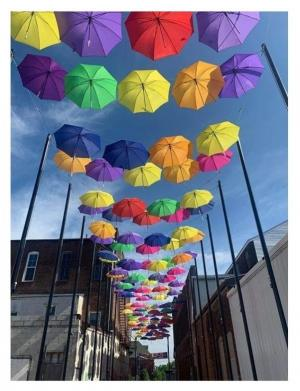 Visit Umbrella Alley in downtown Louisville, Ohio